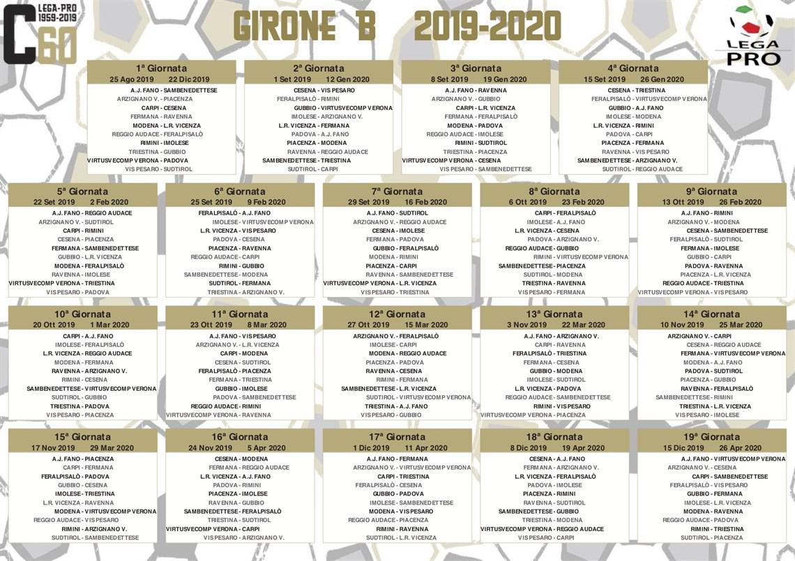 Calendario Modena Calcio.Calendario Serie C 2019 20 Si Parte A Carpi
